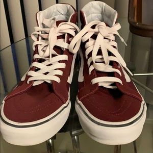 Vans Shoes - Men's Old Skool Burgundy High Top Vans